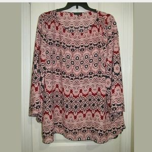 3X The Limited Plus Size Red Print Blouse